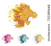head of lion is a logo template ... | Shutterstock .eps vector #732389668