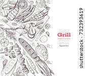grilled vegetables poster.... | Shutterstock .eps vector #732393619