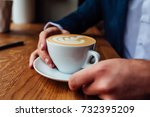 cappuccino with foam in the... | Shutterstock . vector #732395209