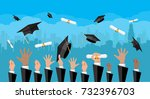 hands of graduates throwing... | Shutterstock . vector #732396703