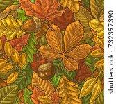 seamless pattern leafs  acorn ...   Shutterstock .eps vector #732397390