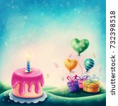 magic landscape with cake and... | Shutterstock . vector #732398518