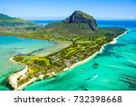 aerial view of mauritius island ... | Shutterstock . vector #732398668