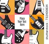 eight guitars frame this white...   Shutterstock . vector #732400834
