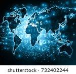 world map on a technological... | Shutterstock . vector #732402244