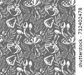seamless pattern.black and... | Shutterstock .eps vector #732402478