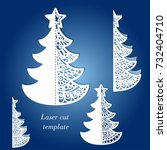 christmas tree  laser cutting.... | Shutterstock .eps vector #732404710