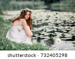 beautiful red haired girl in... | Shutterstock . vector #732405298