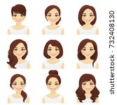 womans hairstyles set | Shutterstock .eps vector #732408130
