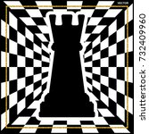 chessboard with a chess piece... | Shutterstock .eps vector #732409960
