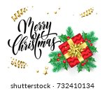 merry christmas greeting card... | Shutterstock .eps vector #732410134