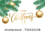 merry christmas greeting card... | Shutterstock .eps vector #732410158