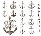 anchor engraved vintage in old... | Shutterstock .eps vector #732411913