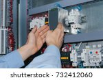 electrician specialist checking ... | Shutterstock . vector #732412060