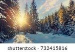majestic winter landscape.... | Shutterstock . vector #732415816
