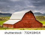 Old Red Barn On An Idaho...