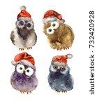 watercolor cute christmas owls... | Shutterstock . vector #732420928