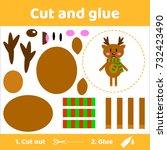 vector illustration. cute deer...   Shutterstock .eps vector #732423490