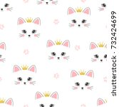 Stock vector seamless cat princess pattern vector background for kids 732424699