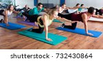 glad adults having yoga class... | Shutterstock . vector #732430864