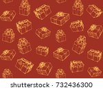 trendy small parcel red wrap... | Shutterstock .eps vector #732436300