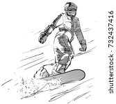 sketch of snowboarder on a... | Shutterstock .eps vector #732437416