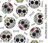 sugar skull day of the dead... | Shutterstock .eps vector #732443644