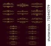 gold stripes frame with vintage ...   Shutterstock .eps vector #732443779