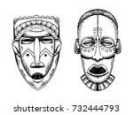 african masks of savages... | Shutterstock .eps vector #732444793