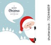 santa behind board merry...