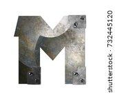 metal alphabet letter m | Shutterstock . vector #732445120