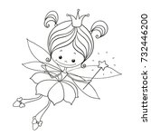 lovely character doodle. fairy... | Shutterstock .eps vector #732446200