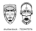 african masks of savages... | Shutterstock . vector #732447076