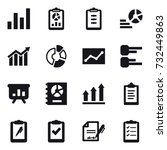 16 vector icon set   graph ... | Shutterstock .eps vector #732449863