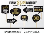 set of funny thirty birthday... | Shutterstock .eps vector #732449866