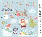 set of christmas characters and ... | Shutterstock .eps vector #732451990