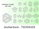 impossible figures  outline ... | Shutterstock .eps vector #732456103