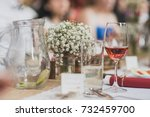 wedding table with red vine and ...   Shutterstock . vector #732459700