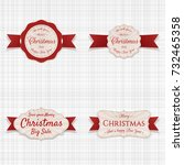 christmas labels with red...   Shutterstock .eps vector #732465358