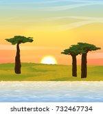 vector landscape.  sunset or... | Shutterstock .eps vector #732467734