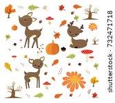 autumn forest  with cute deer | Shutterstock .eps vector #732471718