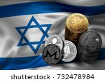 Stack of Bitcoin, Ethereum, Litecoin, Ripple and Monero coins on Israeli flag. Situation of Bitcoin and other cryptocurrencies in Israel concept. 3D Rendering