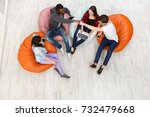 group of young multiethnic... | Shutterstock . vector #732479668