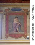 Small photo of ROME, ITALY - SEPTEMBER 03: Saint Eusebius martyr fresco painting in Church of St Lawrence at Lucina, Rome, Italy on September 03, 2016.