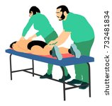 physiotherapist and patient in... | Shutterstock .eps vector #732481834