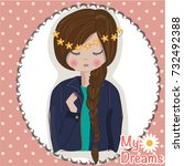 girl illustration cute girl... | Shutterstock .eps vector #732492388