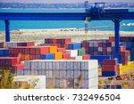 industrial container cargo... | Shutterstock . vector #732496504
