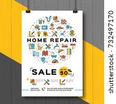 repair house poster  renovation ... | Shutterstock .eps vector #732497170