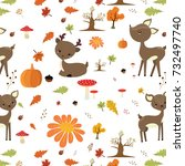autumn forest pattern with cute ... | Shutterstock .eps vector #732497740