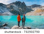couple of tourists looks at the ... | Shutterstock . vector #732502750